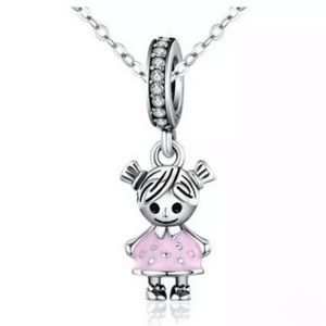 Girl Sterling Silver Dangle Bracelet Charm